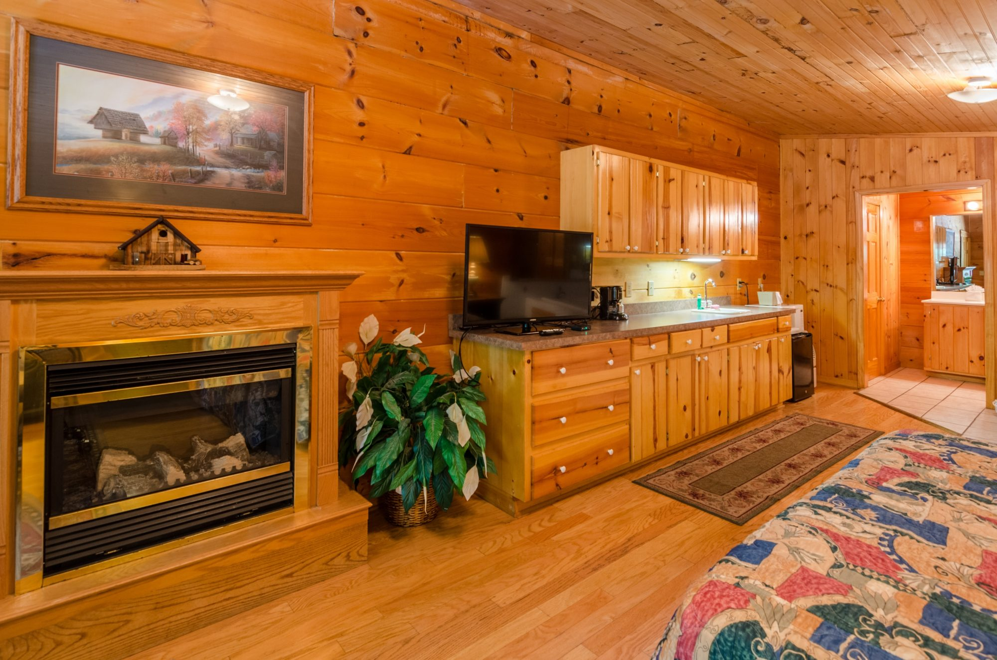 Wood panelled walls and floor with small rug, with , fireplace with imitation log fire, wall mounted art, kitchen are with wall and base cabinets and drawers, flat screen fridge, small fridge, microwave, ice bucket, archway to bathroom area with tiled floor,