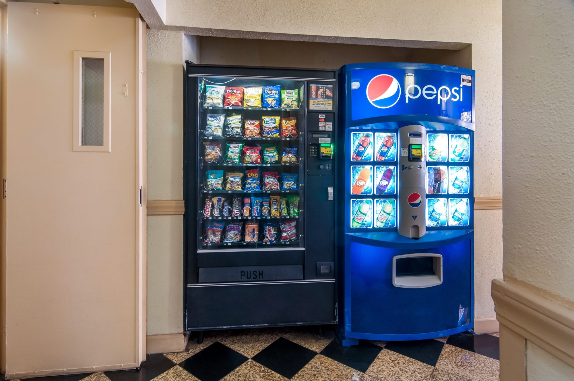 Snack and drinks vending machines, tiled flooring