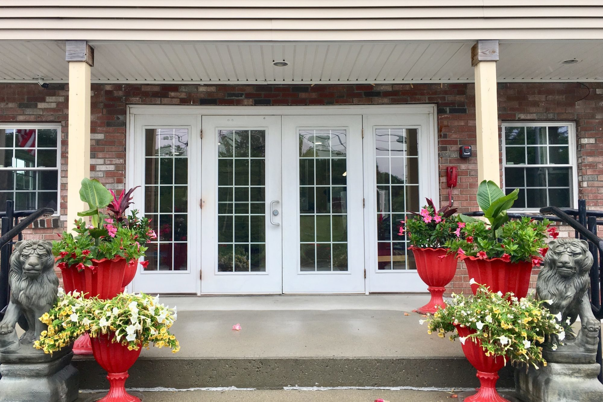 Double doors, planters with flowers and shrubs, lion statues, porst area